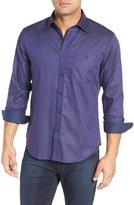 Bugatchi Men's Shaped Fit Stripe Jacquard Sport Shirt