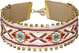 """Panacea Embroidered Fabric with Gold Bead Detail Cream Choker Necklace, 12"""" + 3"""" Extender"""