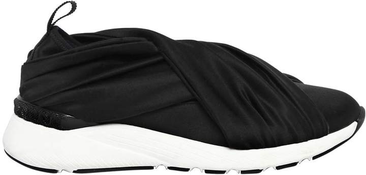 Casadei 30mm Stretch Satin Slip-On Sneakers
