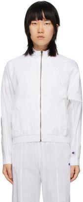 Champion Reverse Weave White Oversized Logo Track Jacket