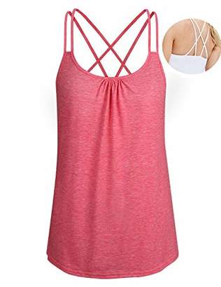 ZKHOECR Cami Tank Tops for Women Junior Yoga Tunic Camisole Sleeveless Round Neck Loose Fit Strappy Racerback Workout Sport T Shirt Summer Cotton Activewear XL
