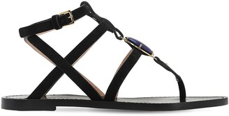 Alberta Ferretti 10mm Embellished Suede Thong Sandals