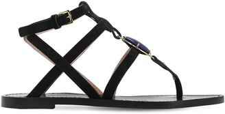 Alberta Ferretti 10mm Embellished Suede Thong Sandals