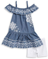 Flapdoodles Girls 2-6x Girls Embroidered Chambray Dress and Shorts Set