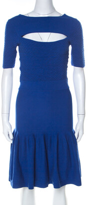 McQ Blue Jersey Cut Out Neck Detail Fitted Fishtail Midi Dress S