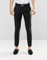 Asos Slim Tuxedo Pants In Black In 100% Wool