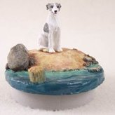 """Conversation Concepts Miniature Whippet Gray & White Candle Topper Tiny One """"A Day on the Beach"""""""