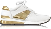 Michael Kors Allie White Leather and Gold Plate Wrap Sneakers