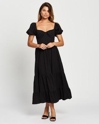 Atmos & Here Atmos&Here - Women's Black Midi Dresses - Imogen Midi Dress - Size 6 at The Iconic