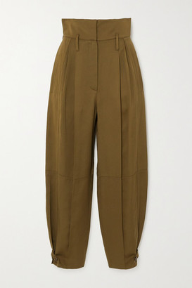 Givenchy Pleated Canvas Tapered Pants - Army green