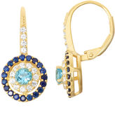 FINE JEWELRY Genuine Blue Topaz & Lab-Created White Sapphire 14K Gold Over Silver Leverback Earrings