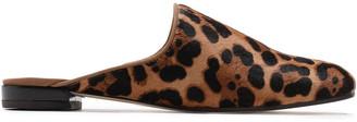 Stuart Weitzman Leopard-print Calf Hair Slippers