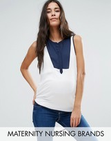 Mama Licious Mama.licious Nursing Woven Top With Color Block Placket