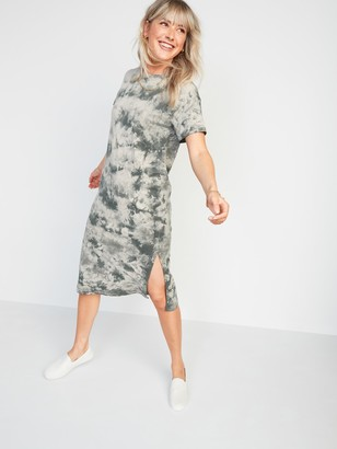 Old Navy Vintage Tie-Dyed Midi T-Shirt Shift Dress for Women