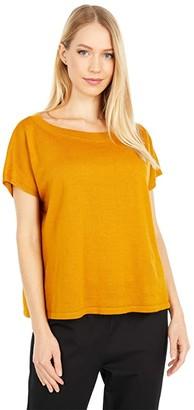 Eileen Fisher Organic Linen Cotton Round Neck Short Sleeve Box Top (Goldenrod) Women's Clothing