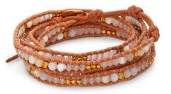 Chan Luu White Opal, White Jade& Leather Beaded Wrap Bracelet