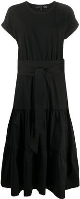 Veronica Beard tiered-skirt tie waist T-shirt dress