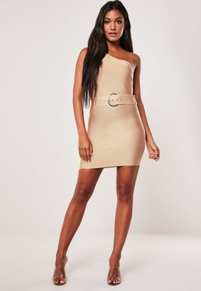 Missguided Petite Premium Gold Bandage Belted One Shoulder Mini Dress