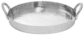 "St. Croix Kindwer 21"" Round Hammered Scalloped Tray"