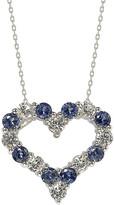 LeVian Suzy Diamonds Suzy Silver .77 Ct. Tw. Diamond & Sapphire Heart Necklace