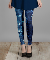 Lily Blue & Aqua Sparkle Leggings - Plus Too