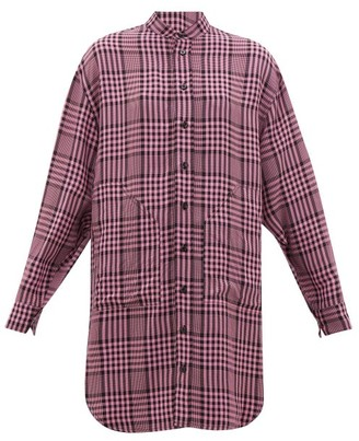 Colville - Longline Checked Poplin Shirt - Womens - Pink Multi