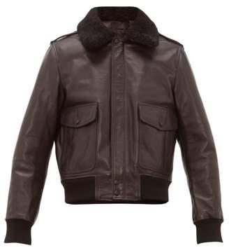 Ami Shearling Collar Leather Jacket - Mens - Black