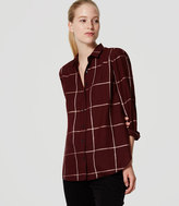 LOFT Petite Shimmer Plaid Softened Shirt