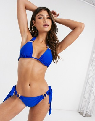 Moda Minx Amour triangle bikini top in cobalt blue