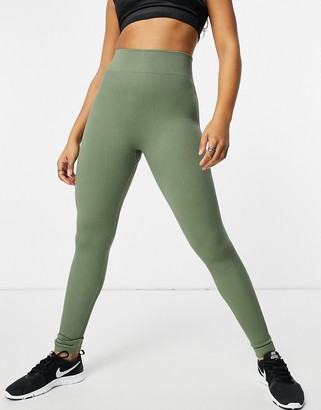 South Beach fitness seamless ribbed leggings in khaki