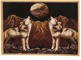 World Menagerie Kaly Howling Wolves Novelty Brown Area Rug Rug