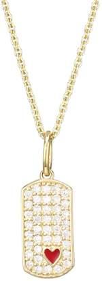 Sydney Evan Diamond, 14K Yellow Gold & Red Enamel Heart Dog Tag Pendant Necklace
