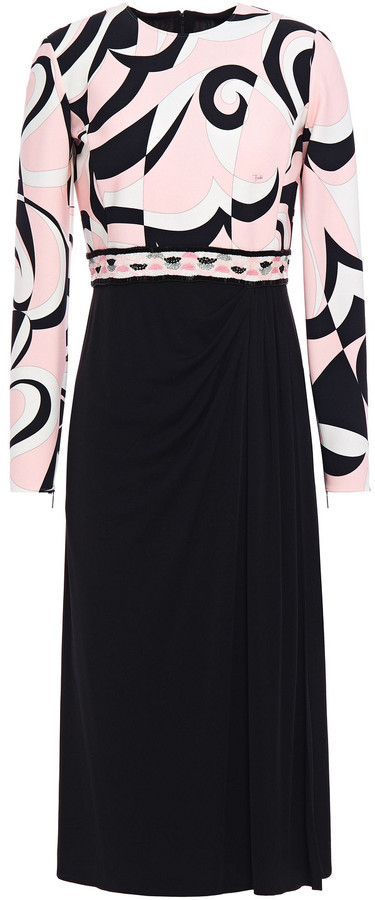Emilio Pucci Embellished Printed Stretch-jersey And Ponte Midi Dress
