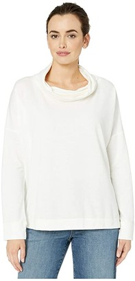 Mod-o-doc Lightweight Fleece Long Sleeve Cowl Neck Boxy Pullover (Ivory) Women's Clothing