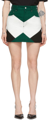 Kirin Green and White Denim Combo Moto Miniskirt