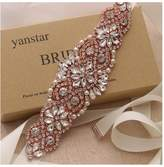 Yanstar Rose Gold Bridal Wedding Belts Navy Sashes Handmade Beads Belt For Bridal Bridesmaid Dresses