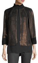 Lafayette 148 New York Garrison Velvet-Trim Shimmering Metallic Leather Jacket