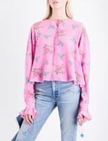 Natasha Zinko Bell-cuff floral-print silk top