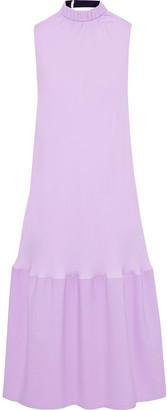 Tibi Canvas-paneled Gathered Jersey Midi Dress