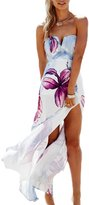 Moonpin Women's Off Shoulder Tube Slit Irregular High Low Floral Holiday Beach Party Dress S
