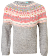 John Lewis Girls' Fair Isle Knitted Jumper, Grey