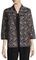 Caroline Rose Laser Leaf Embroidered Jacket, Plus Size