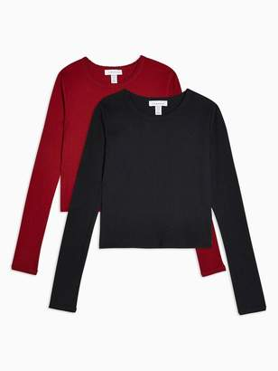 Topshop Petite 2 Pack Long Sleeve Scalloped T-Shirts - Red/Black