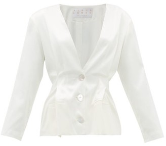 Albus Lumen - Pleated-waist Silk-charmeuse Jacket - Womens - White