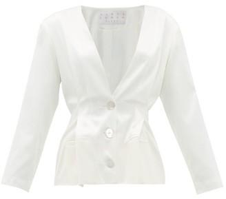 ALBUS LUMEN Pleated-waist Silk-charmeuse Jacket - Womens - White