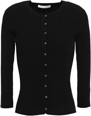 Autumn Cashmere Embroidered Ribbed-knit Cardigan