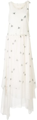 Aleksandr Manamis Bird Print Maxi Dress