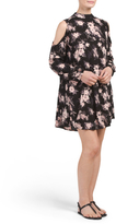 Juniors Cold Shoulder Floral Shift Dress