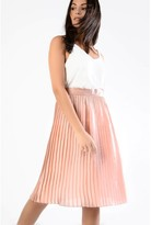 Glamorous Peach Metallic Pleated Skirt