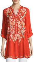 Johnny Was Nikky Embroidered Georgette Long Tunic, Orange, Plus Size